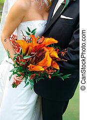 színes, csokor, tartott, által, egy, menyasszony inas