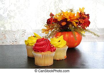 színes, cupcake