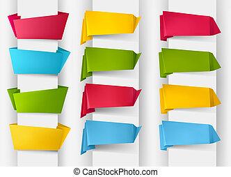 színes, dolgozat, banners., állhatatos, origami, vektor, hatalmas, illustration.