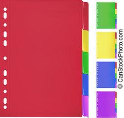 színes, dossziék, noha, bookmarks