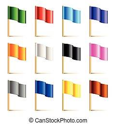 színes, elszigetelt, ábra, vektor, zászlók, fehér