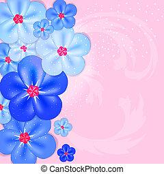 színes, elvont, ábra, flowers., vektor, háttér