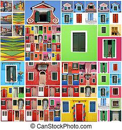 színes, elvont, burano, épület, motívum
