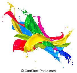 színes, elvont, elszigetelt, festék, white., fröcskölő,...