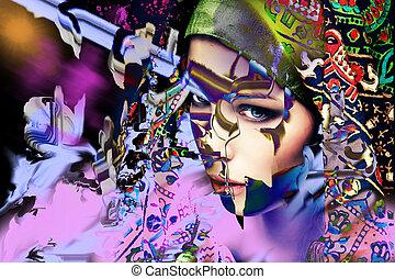 színes, elvont, leány, portré