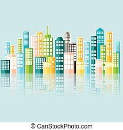 színes, elvont, város, skyline.