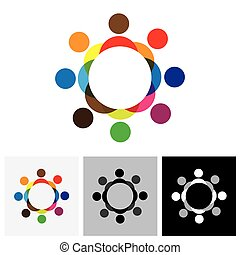 színes, emberek, vektor, jel, karika, ikon