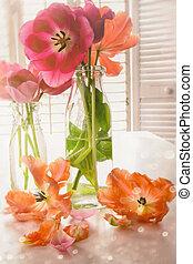 színes, eredet, tulipánok, közel, ablak