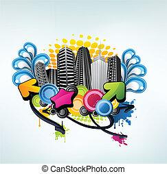 színes, fél, város, tervezés