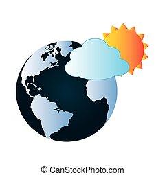 színes, földdel feltölt, világ térkép, noha, felhő, és, nap