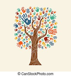 színes, fa, ábra, kéz, különböző, közösség