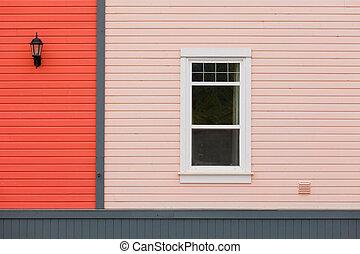 színes, fal, mellékvágány, lámpa, ablak, külső