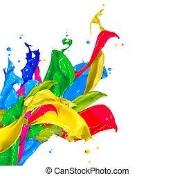színes, festék fröccsen, elszigetelt, képben látható,...