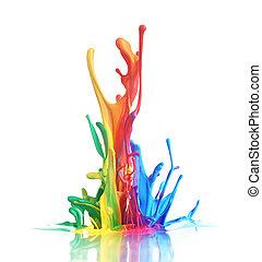 színes, festék, fröcskölő
