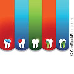 színes, fogászati, tervezés, sablon
