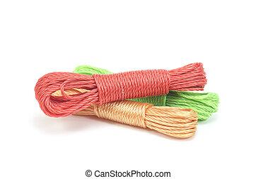 színes, fonatok, összekötöz, háttér, fehér, nejlon