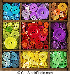 színes, gombok