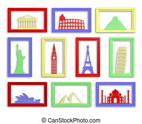 színes, gyűjtés, közül, világ, legtöbb, híres, iránypont, alatt, keret