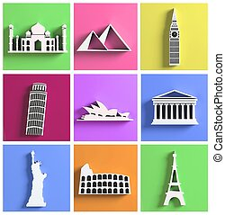 színes, gyűjtés, közül, világ, legtöbb, híres, iránypont