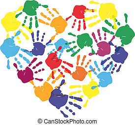 színes, gyermek, kezezés prints, alatt, szív alakzat