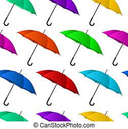színes, háttér, esernyők, seamless