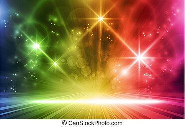 színes, háttér, hat, fény