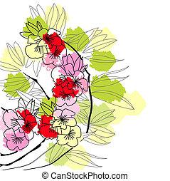 színes, háttér, virágos