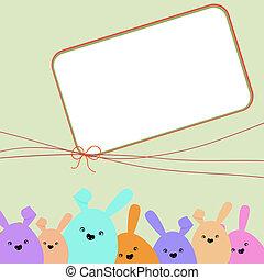 színes, húsvét, kártya, noha, másol, space., eps, 8