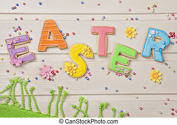 színes, húsvét, süti