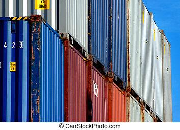 színes, hajózás, tároló