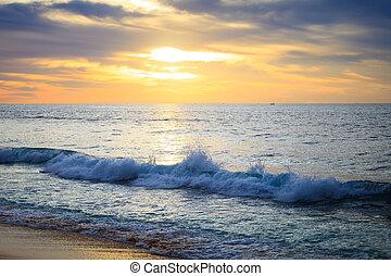 színes, hajnalodik, felett, a, sea., természet, composition.