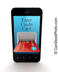 színes, hitelkártya, összekapcsolt, fordíts, mozgatható, telefon.