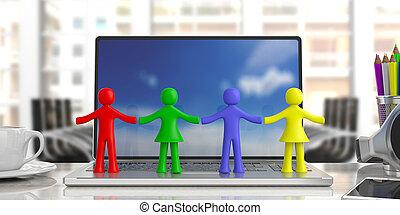 színes, hivatal, emberi kezezés, ábra, négy, háttér., számolás, birtok, elhomályosít, számítógép, ügy, 3