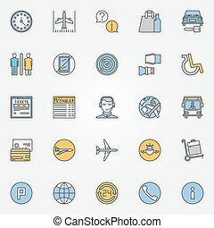 színes, ikonok, utazás, levegő, repülőtér, vagy