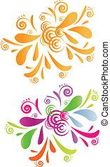 színes, -, két, örvény, tervezés, narancs