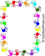 színes, kéz, keret
