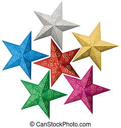 színes, karácsony, csillaggal díszít