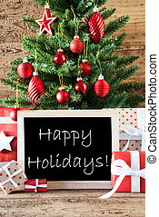 színes, karácsonyfa, noha, szöveg, boldog, ünnepek
