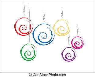színes, karácsonyi díszek