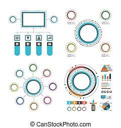 színes, karika, infographic, állhatatos