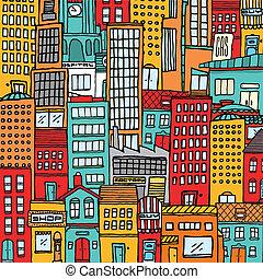 színes, karikatúra, város, struktúra, háttér