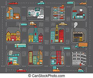 színes, karikatúra, város térkép