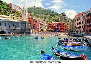 színes, kikötő, cinque terre, olaszország