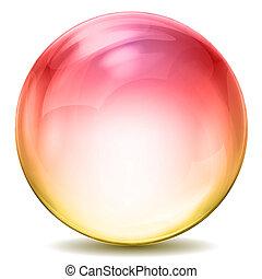 színes, kristály labda