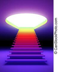 színes, lépcsőfok, future.