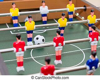 színes, labdarúgás, részletez, játékos, asztal, (figurines)