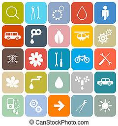 színes, lakás, tervezés, kerek, derékszögben, vektor, ikonok, állhatatos