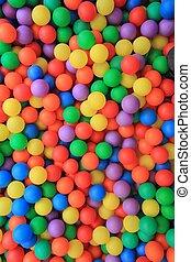 színes, műanyag, herék, alatt, gyerekek, liget