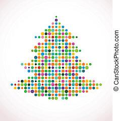 színes, motívum, elvont, fa, doted, karácsony