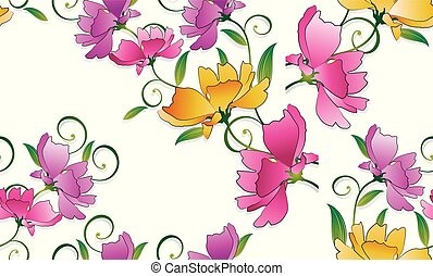 színes, motívum, seamless, háttér, virágos, fehér
